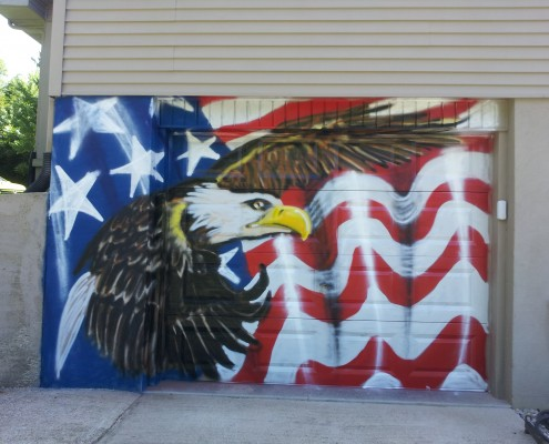 eagle and flag garage door